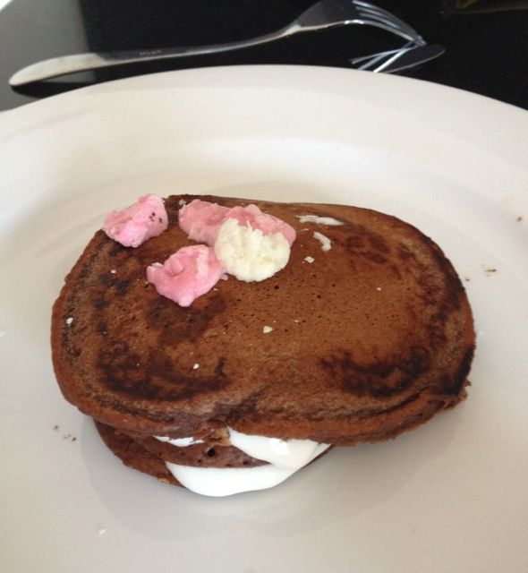 PANK breakfast - chocolate pancakes with melted marshmallow