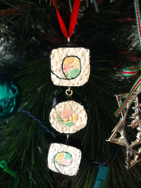 Sayonara, Christmas glitter sushi from my sister Jo. Every tree should have one.