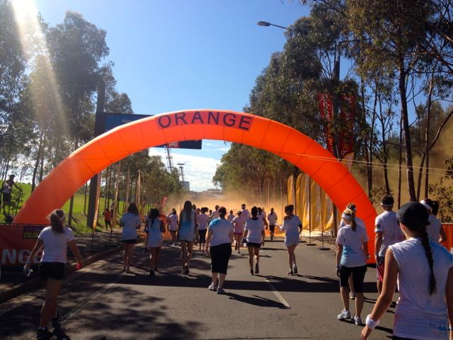 The Orange checkpoint was called Oompa Loompa land and they were probably the craziest volunteers, determined to turn everyone orange. Mission accomplished!