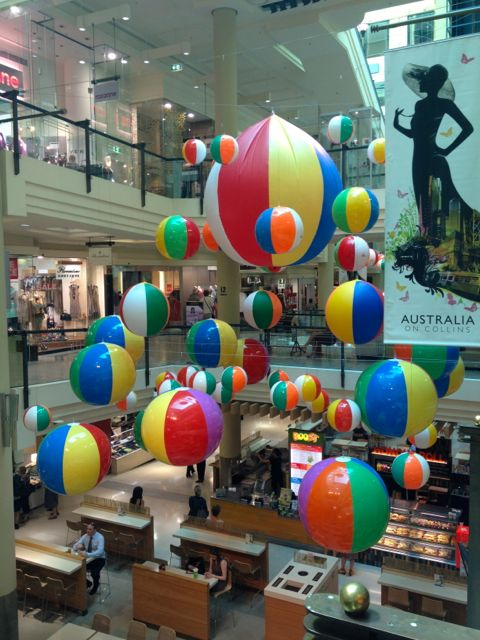 A shopping centre display of giant beach balls called Amazeballs. Yes, really.