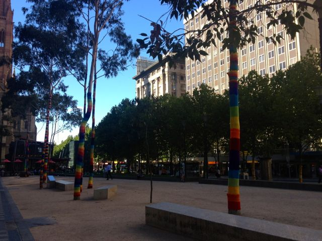 A yarn-bombed City Square, Melbourne.
