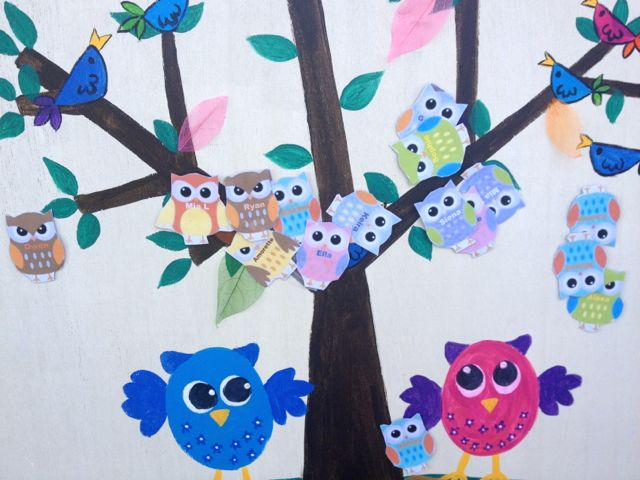 After the owls were all pinned. Methinks some of the kids could see through the eye mask...