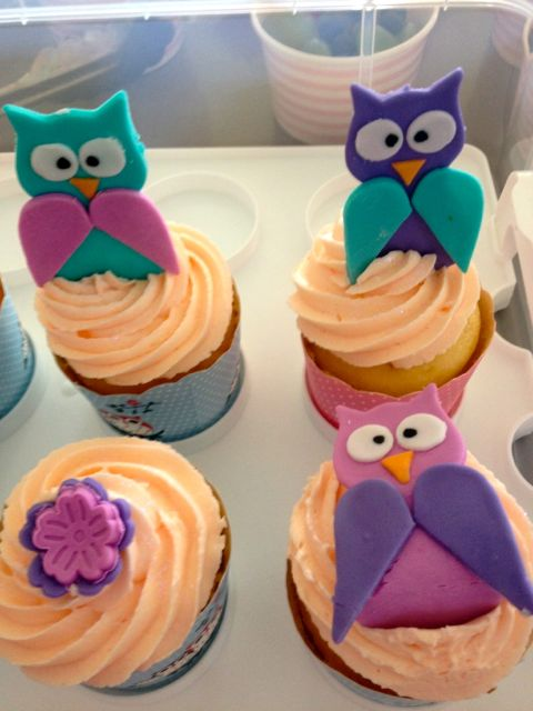 Some of our cupcakes with handmade fondant owls and flowers.