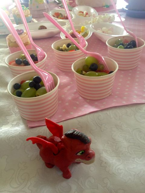 The fruit cups looked great, but weren't a big hit with the kids. The scary dragon guard might have had something to do with it, though.