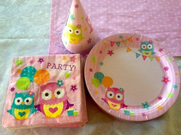 Stylin' it up with owl party props.