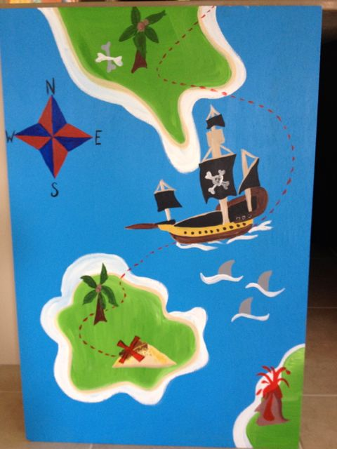 The treasure map for 'Pin the Flag on the Treasure'. Yep, painted by Jo.