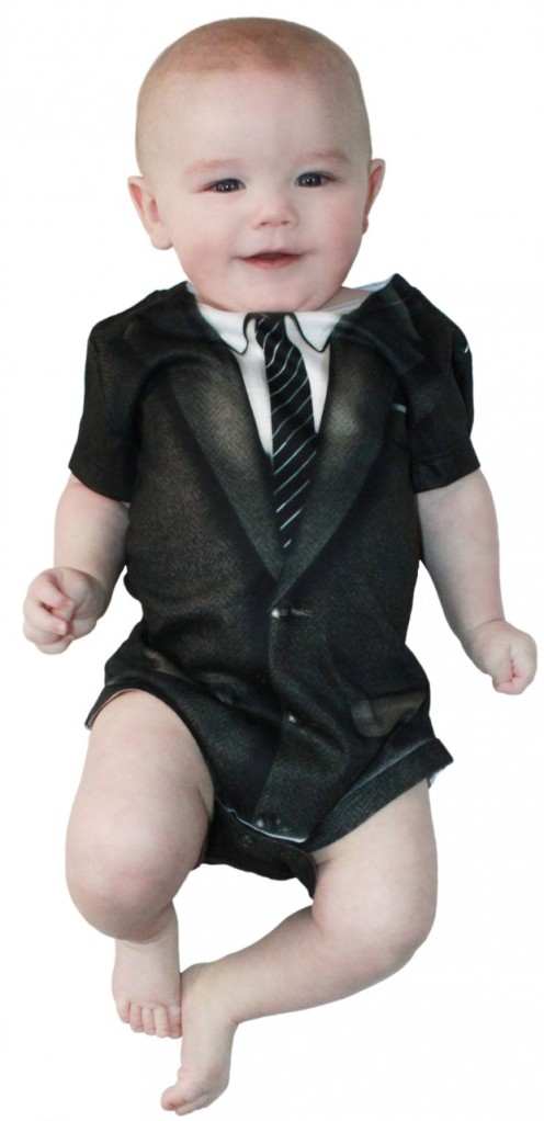 From the bassinet to the boardroom, this Faux Real romper suit shows that your baby means business.