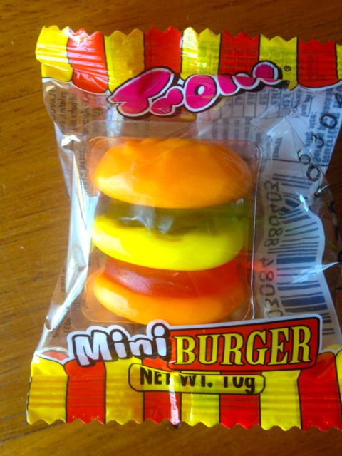 And a mini gummi burger, looking eerily like the real thing.