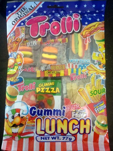 My gummi lunch bag, packed full of treats.