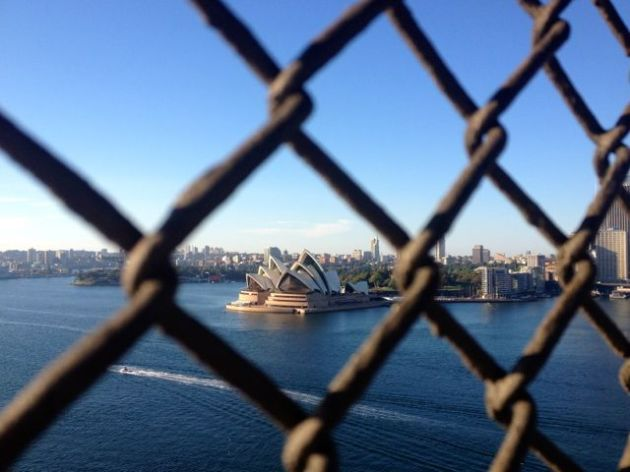 Our House, as seen through the Harbour Bridge fencing