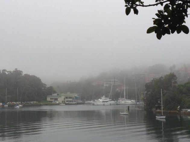 A foggy bay on a foggy day.