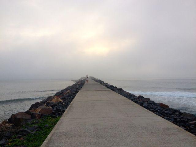 The break wall near Nobby's Beach.