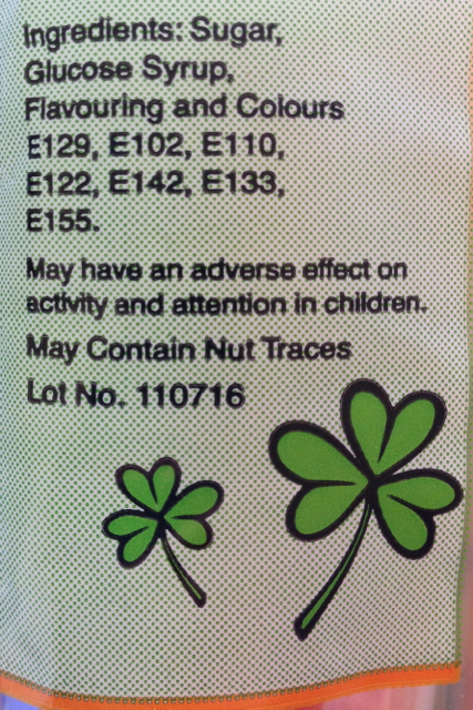 An unexpected warning on the bag of ShamRock lollies.
