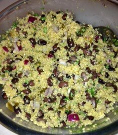 "A quinoa & black bean salad made by my brother Jimmi. He threatened to release a cookbook called ""Listening to Quinoa""."