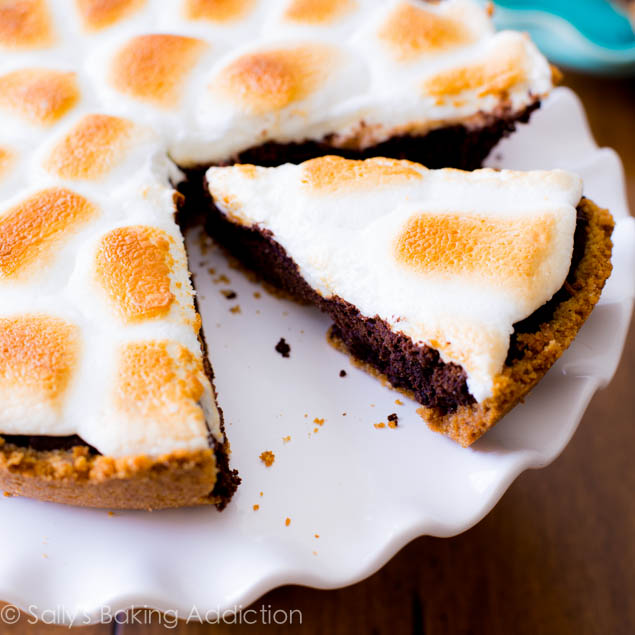 S'mores Brownie Pie. Yes, that is a toasted marshmallow topping.