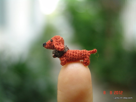 Definitely an apartment-friendly dachshund, at a height of 1cm. [image from LamLinh, via etsy]