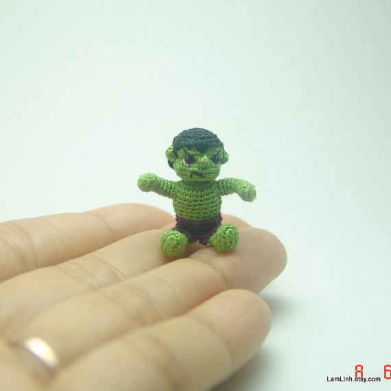 Not so scary now, 2.5cm tall crochet Hulk. [image from LamLinh.etsy.com]