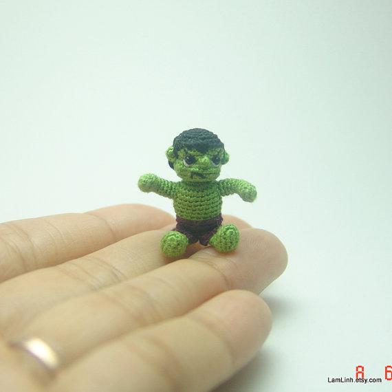 Not so scary now, 2.5cm tall crochet Hulk. [image from LamLinh.etsy.com]
