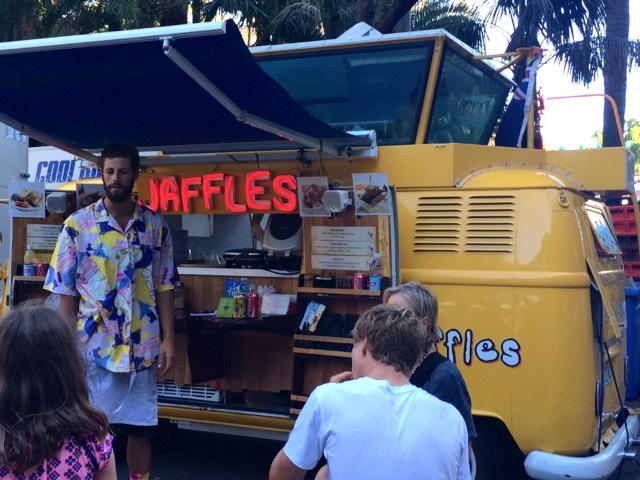 Nothing says 'festival' more than a hipster selling jaffles from a bright yellow kombi van. Love it!