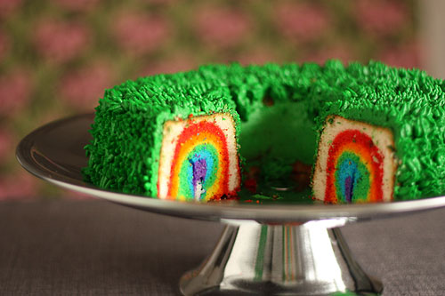 3. Enjoy the magical rainbow cake, with or without your leprechaun. [image from Not Martha]