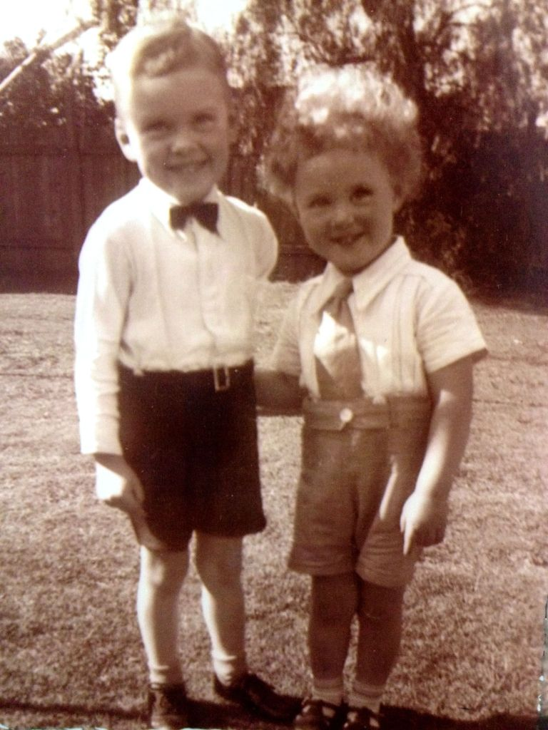 All dressed up - LIttle Jim and Little Pat. (That's my Dad on the right, circa early 1940s, I guess.)